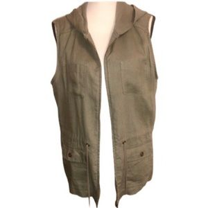 St. Tropez West Army Green Linen Hooded Cargo Vest